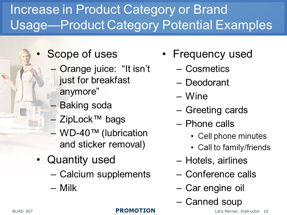 Increase in Product Category or Brand Usage—Product Category Potential Examples
