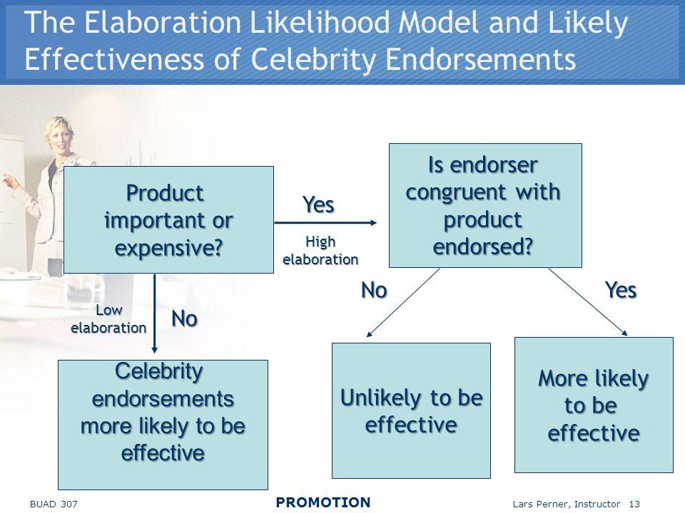 The Elaboration Likelihood Model and Likely Effectiveness of Celebrity Endorsements