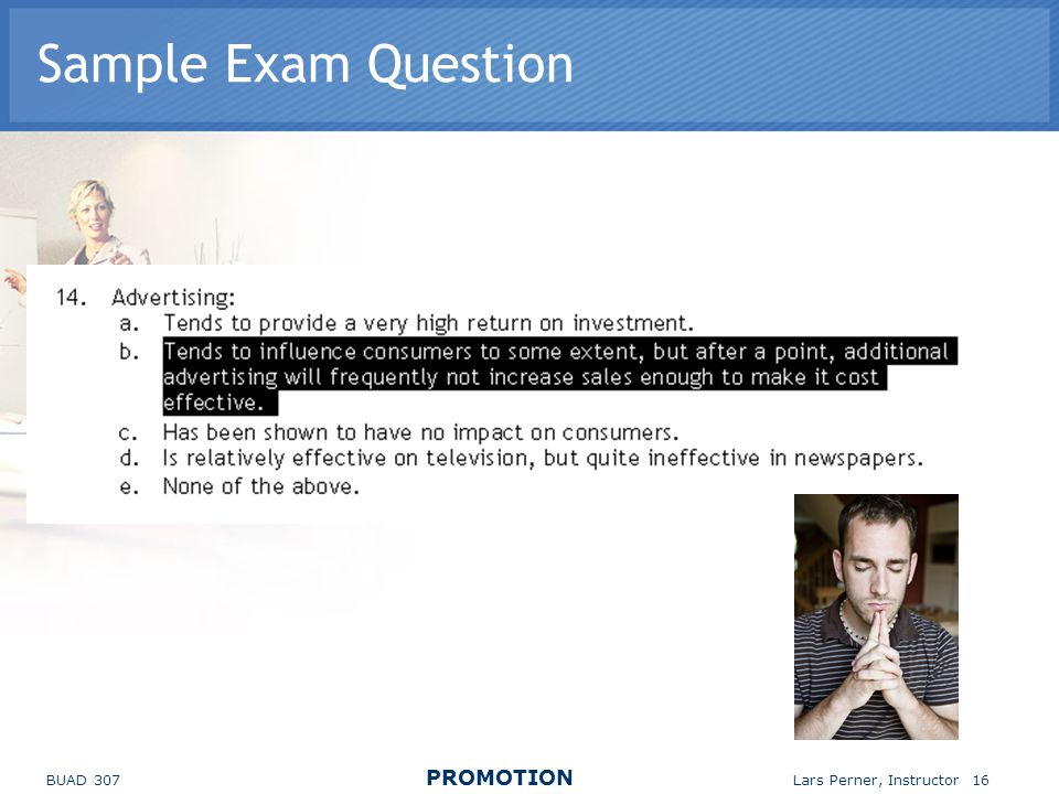 Sample Exam Question