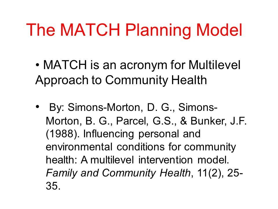 The MATCH Planning Model