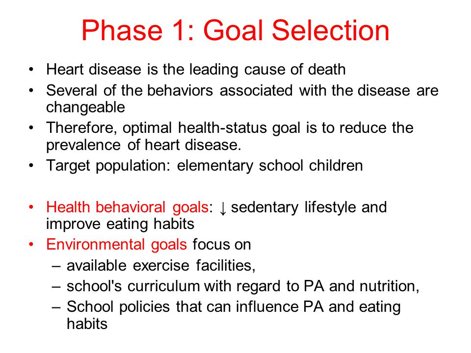Phase 1: Goal Selection Heart disease is the leading cause of death