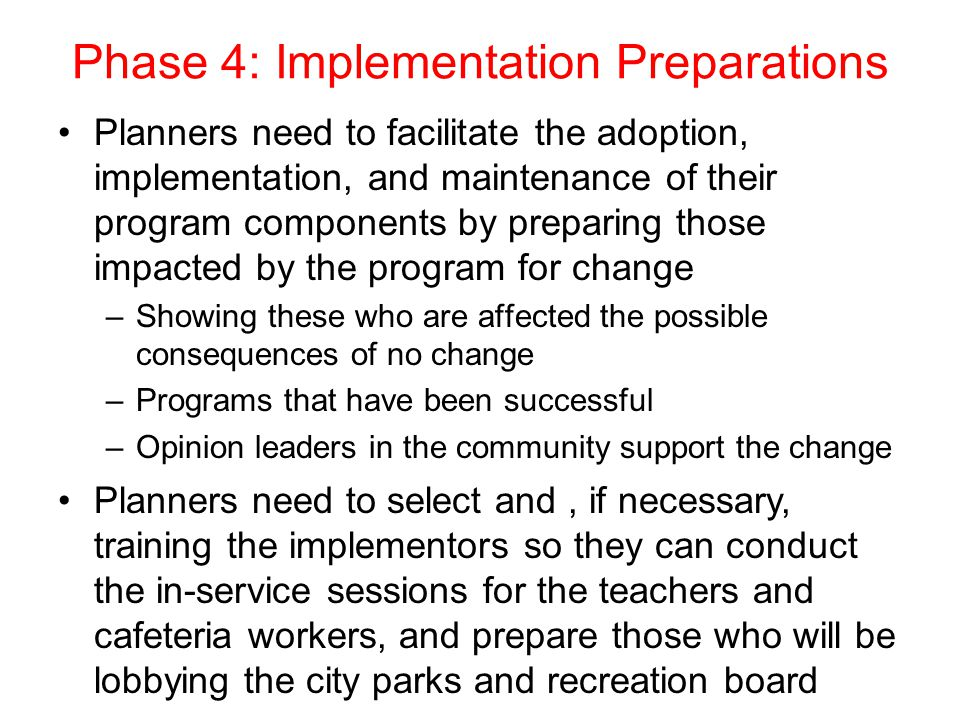 Phase 4: Implementation Preparations