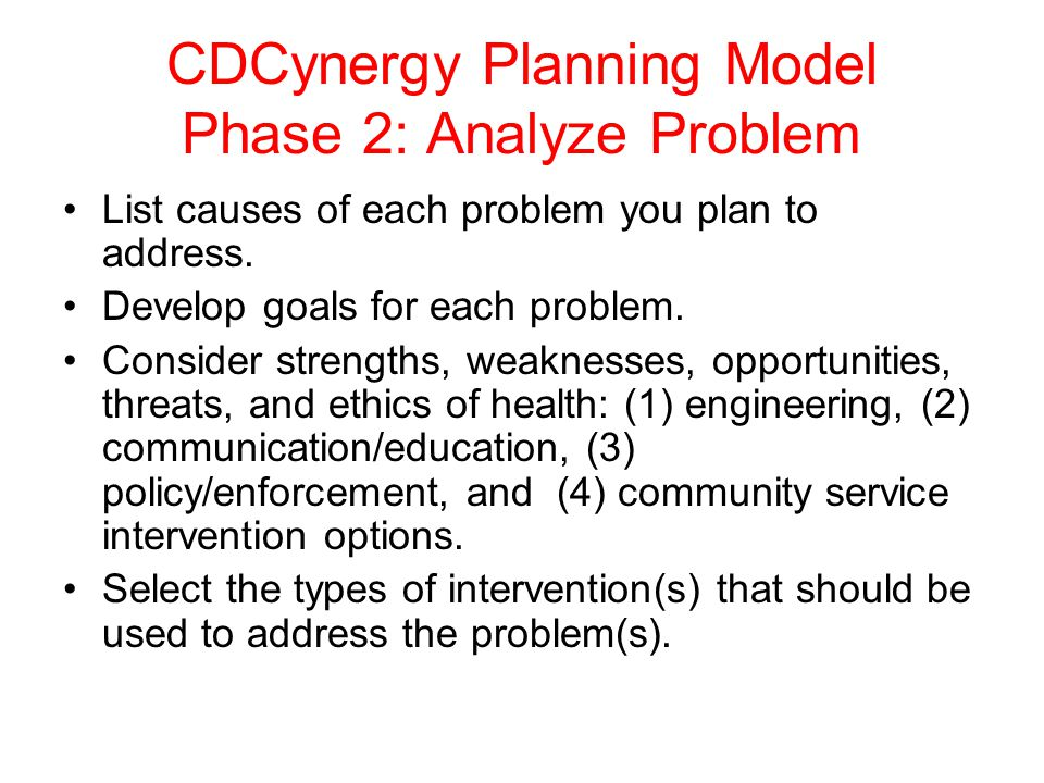 CDCynergy Planning Model Phase 2: Analyze Problem