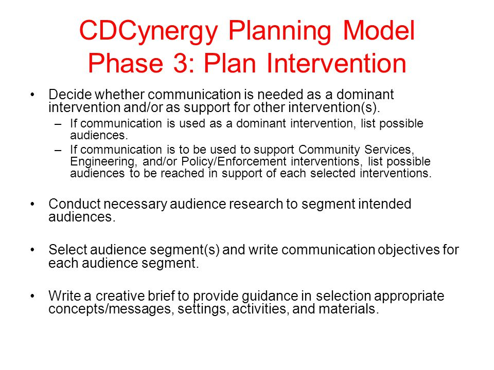 CDCynergy Planning Model Phase 3: Plan Intervention