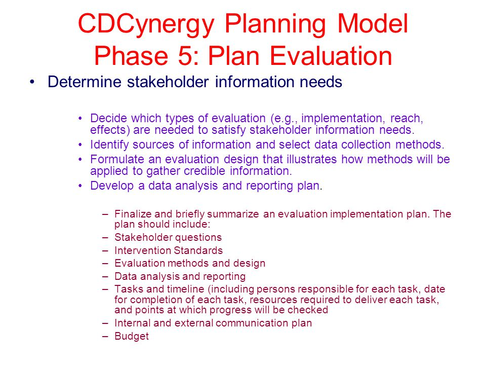 CDCynergy Planning Model Phase 5: Plan Evaluation