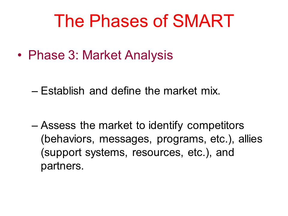 The Phases of SMART Phase 3: Market Analysis