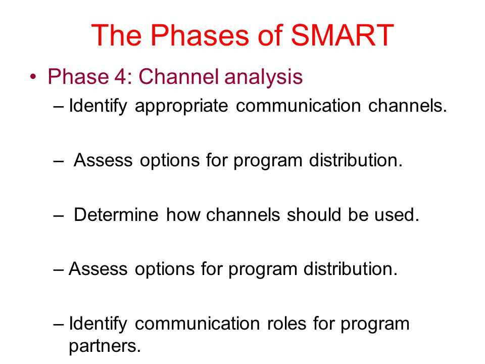The Phases of SMART Phase 4: Channel analysis