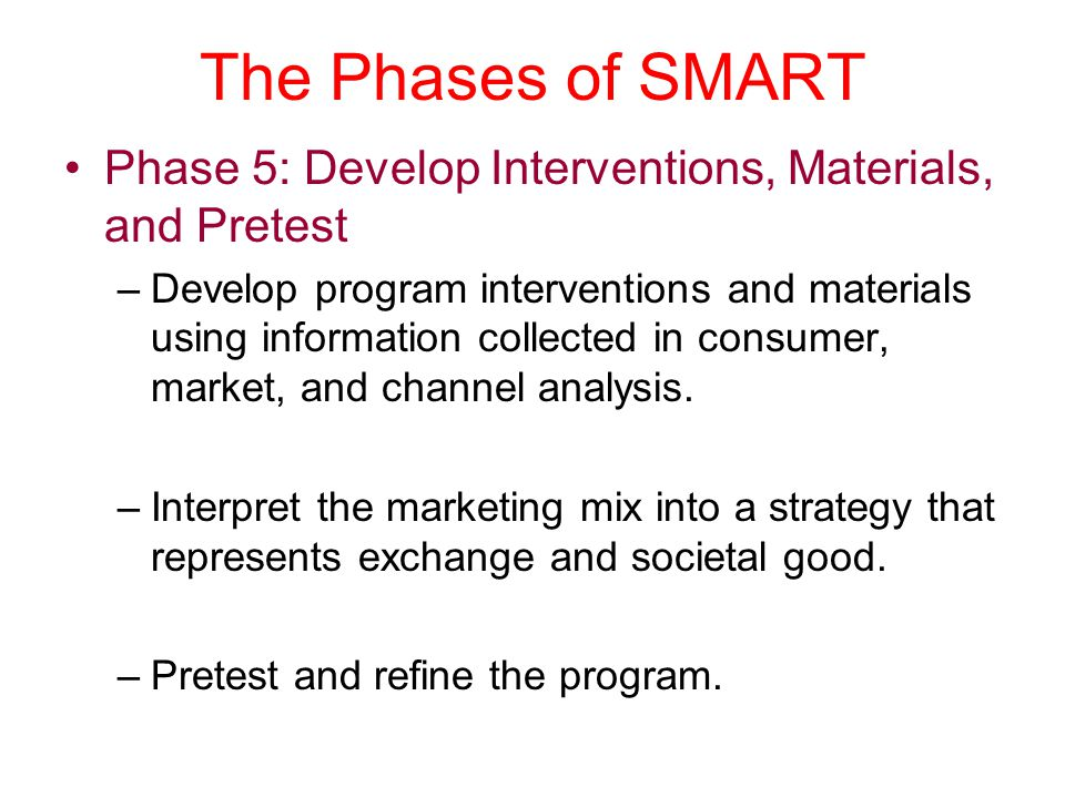 The Phases of SMART Phase 5: Develop Interventions, Materials, and Pretest.