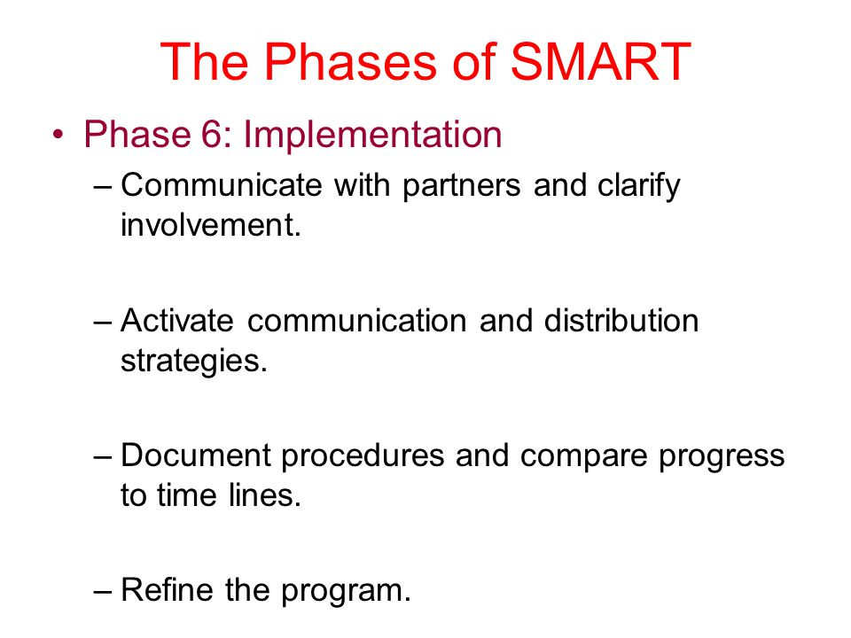 The Phases of SMART Phase 6: Implementation
