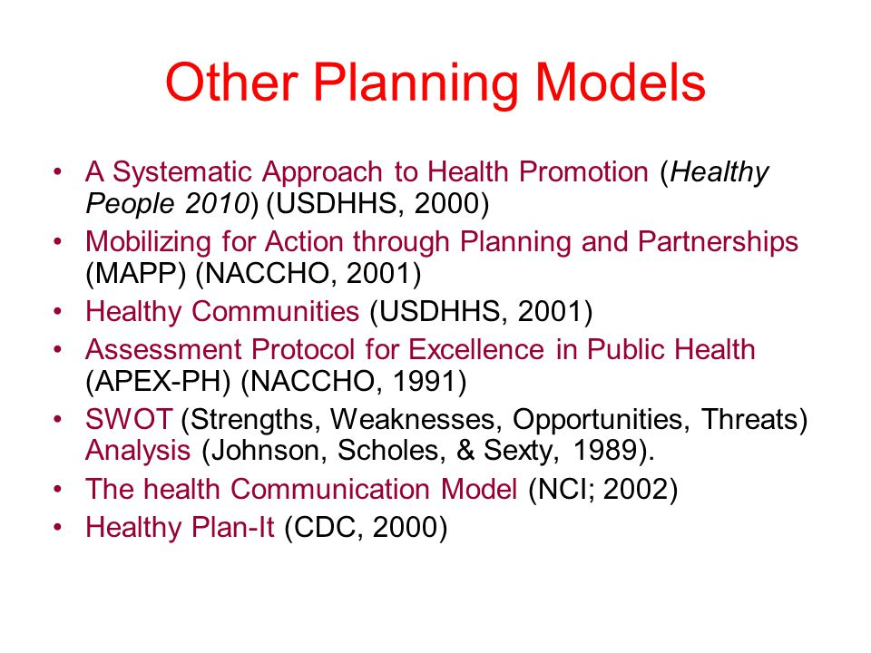 Other Planning Models A Systematic Approach to Health Promotion (Healthy People 2010) (USDHHS, 2000)