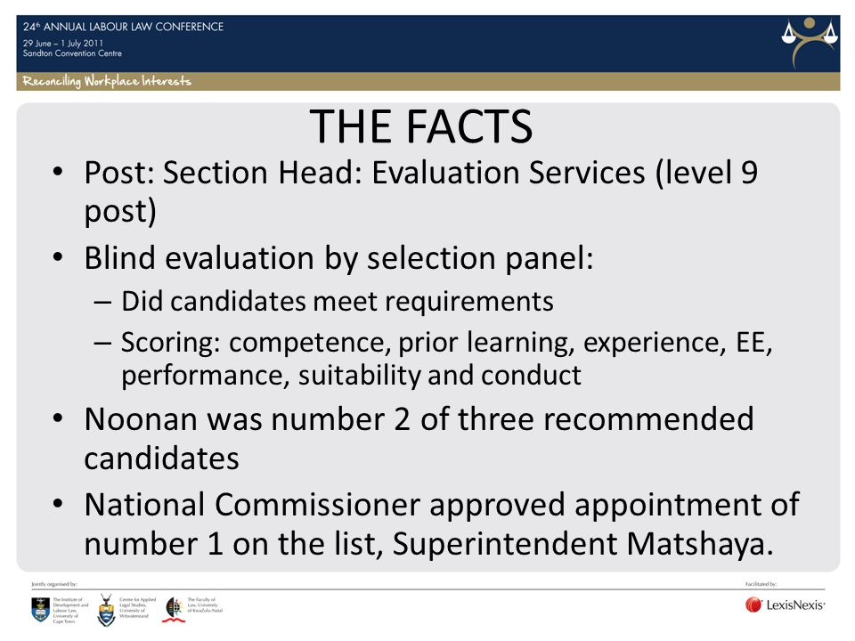 THE FACTS Post: Section Head: Evaluation Services (level 9 post)