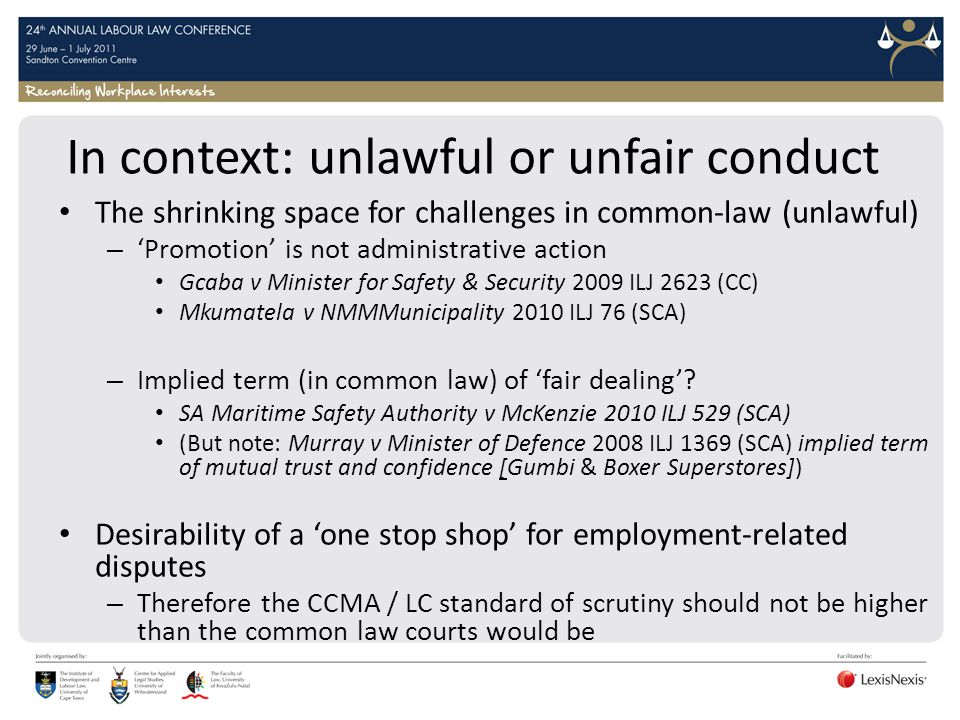 In context: unlawful or unfair conduct