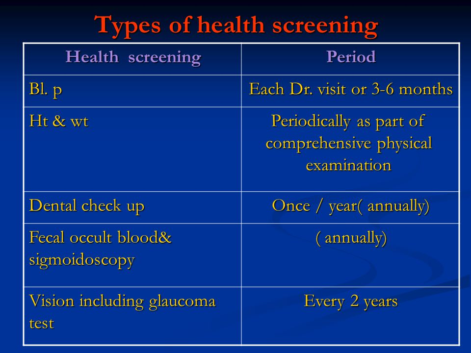 Types of health screening
