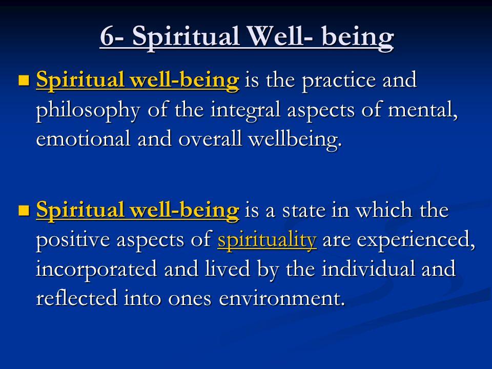 6- Spiritual Well- being