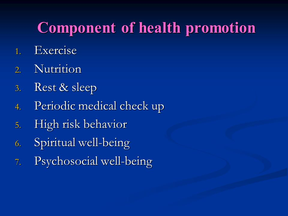 Component of health promotion
