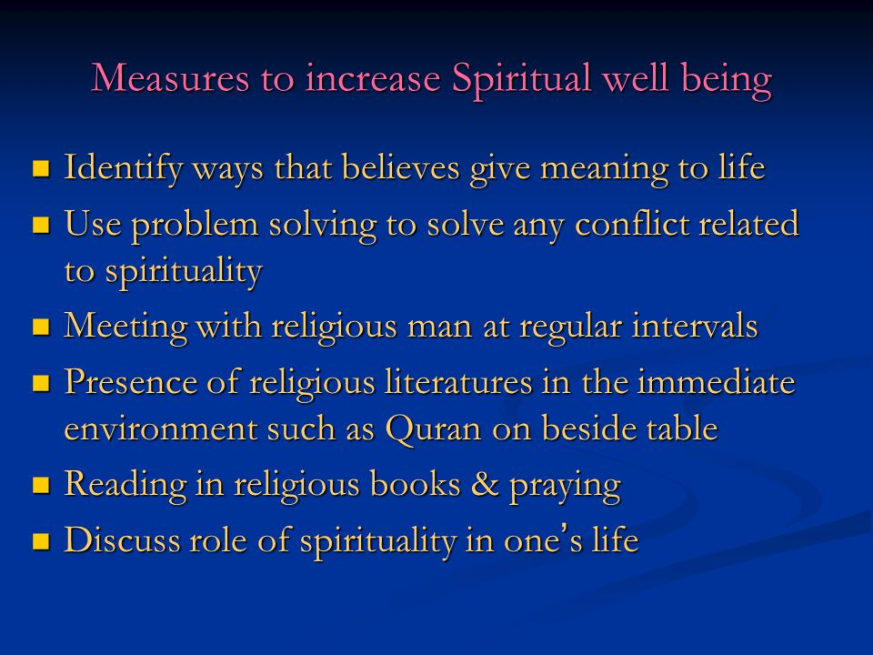 Measures to increase Spiritual well being