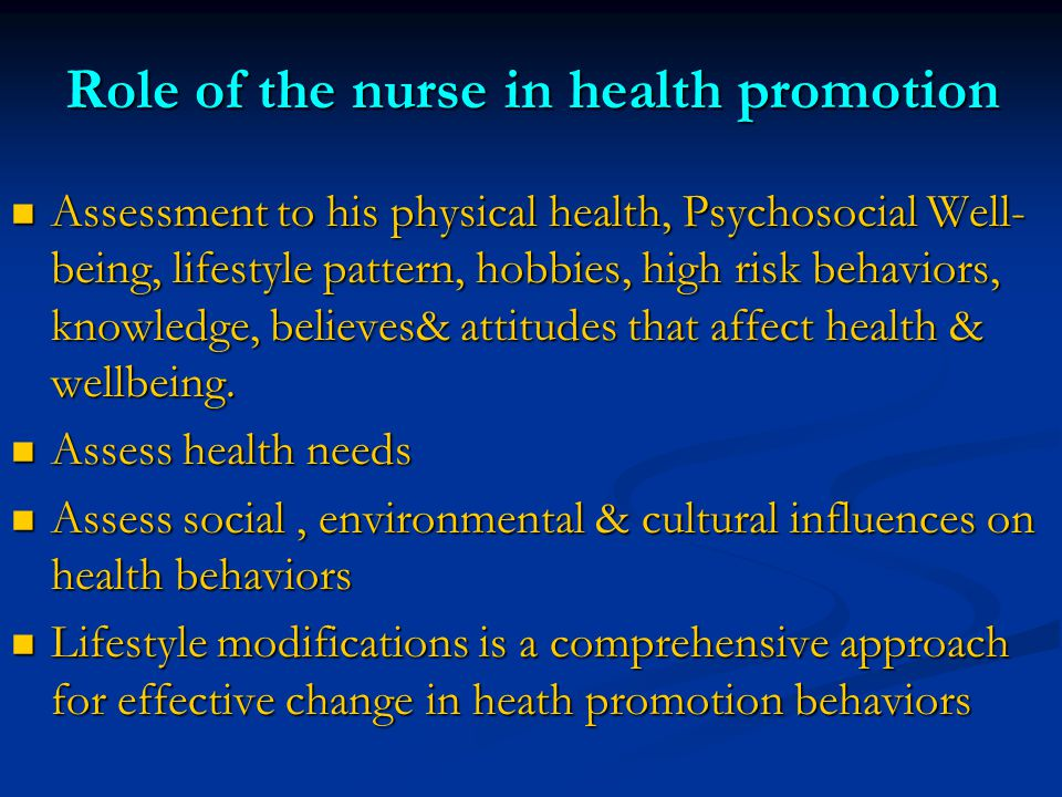 Role of the nurse in health promotion