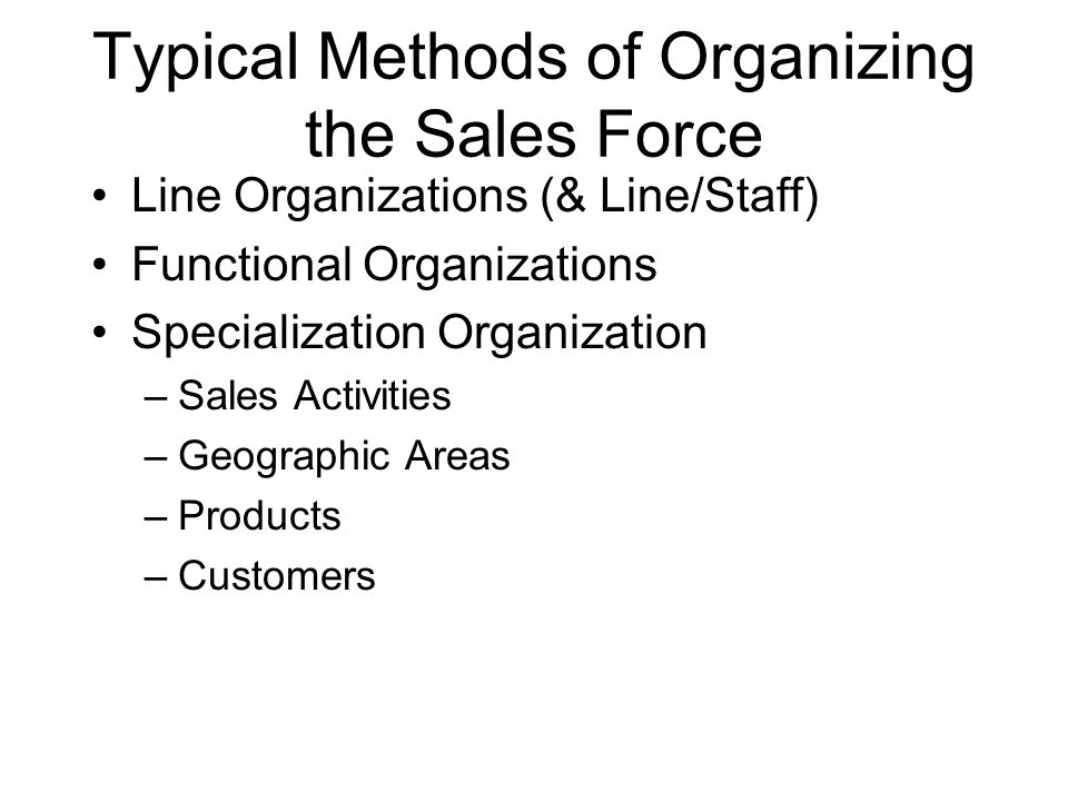 Typical Methods of Organizing the Sales Force