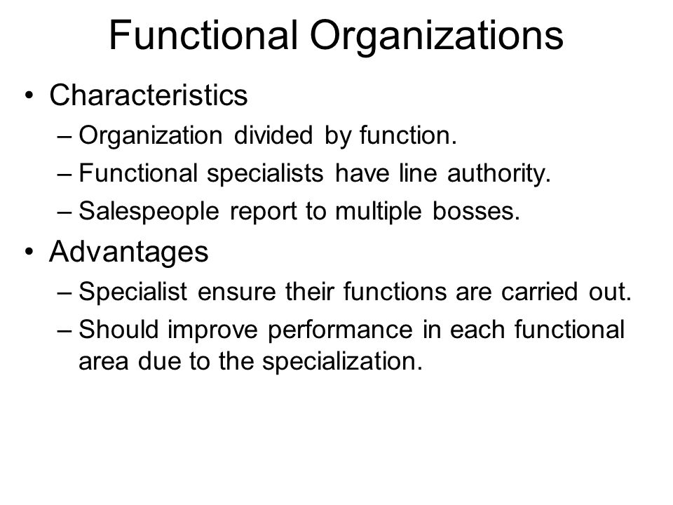 Functional Organizations