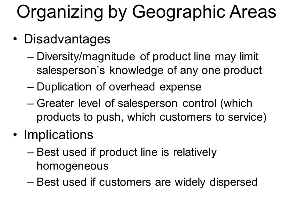 Organizing by Geographic Areas