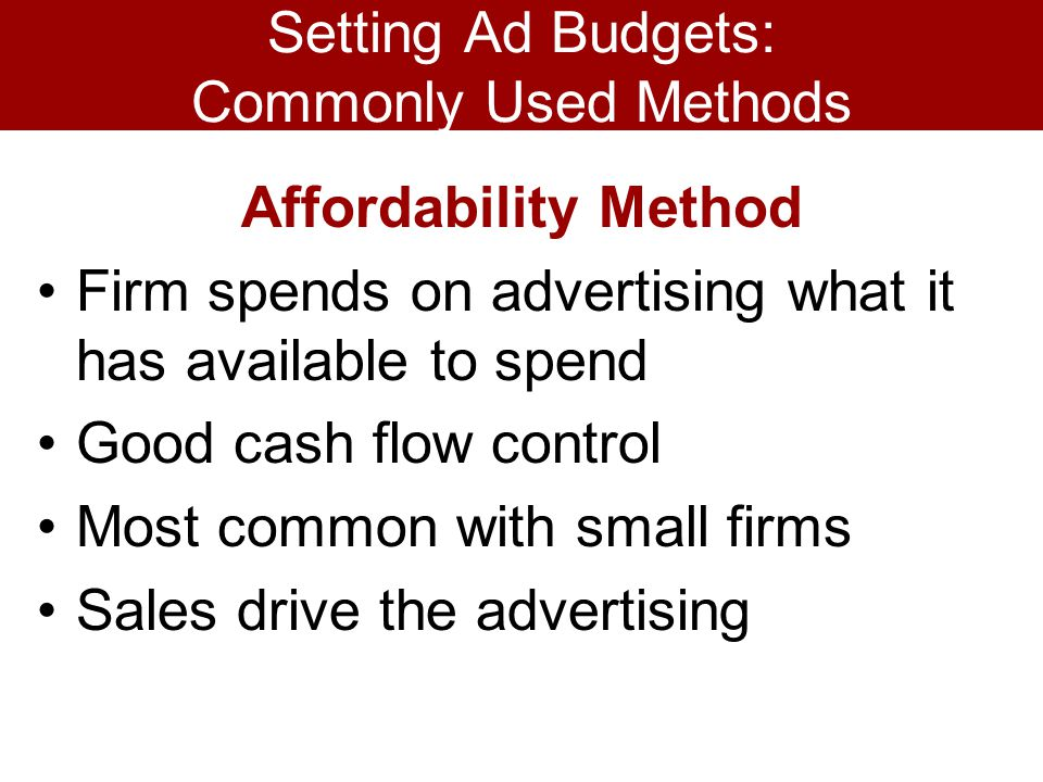 Setting Ad Budgets: Commonly Used Methods