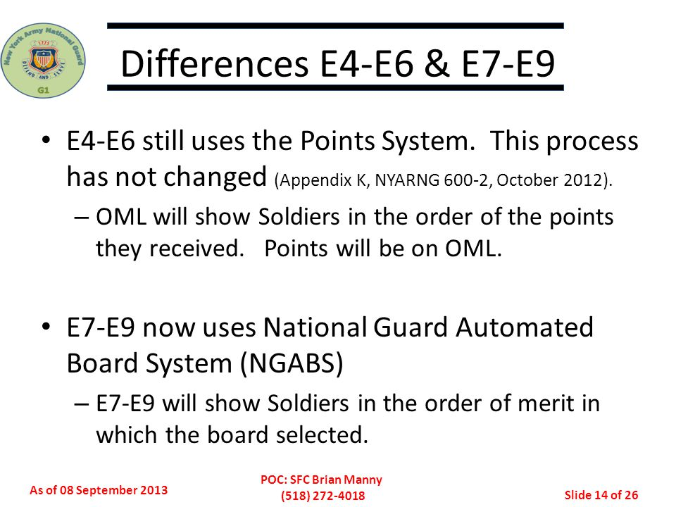 Differences E4-E6 & E7-E9 E4-E6 still uses the Points System. This process has not changed (Appendix K, NYARNG 600-2, October 2012).