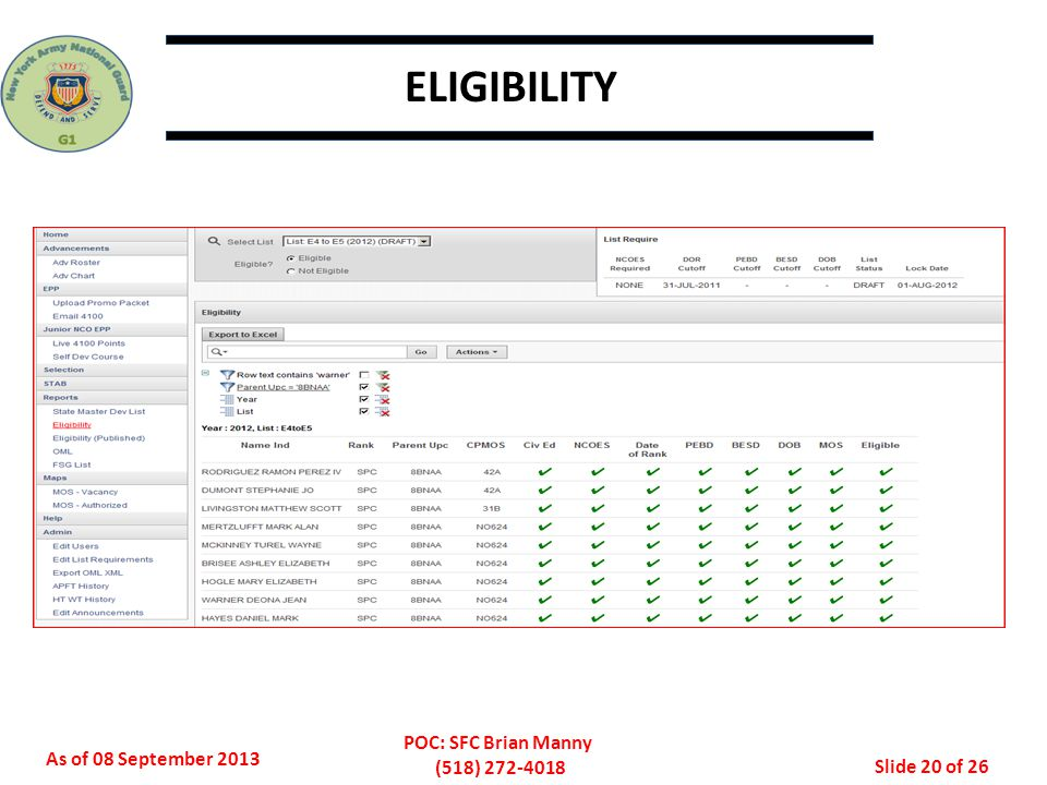 ELIGIBILITY In ePAM you can view the Promotion Eligibility Roster (PER) and the Promotion Ineligibility Roster (PIR)