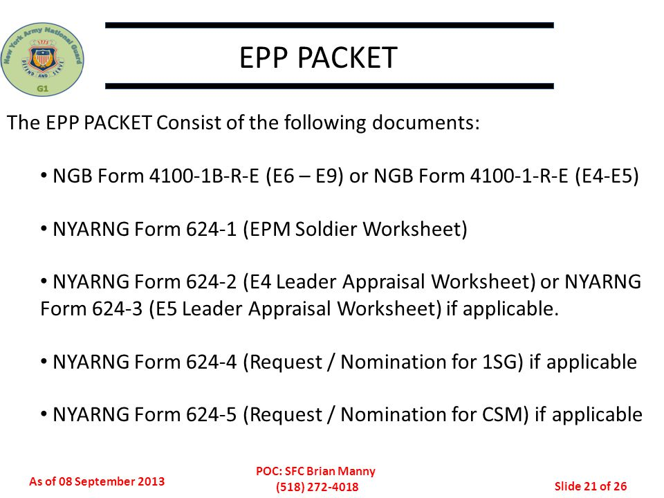 EPP PACKET The EPP PACKET Consist of the following documents: