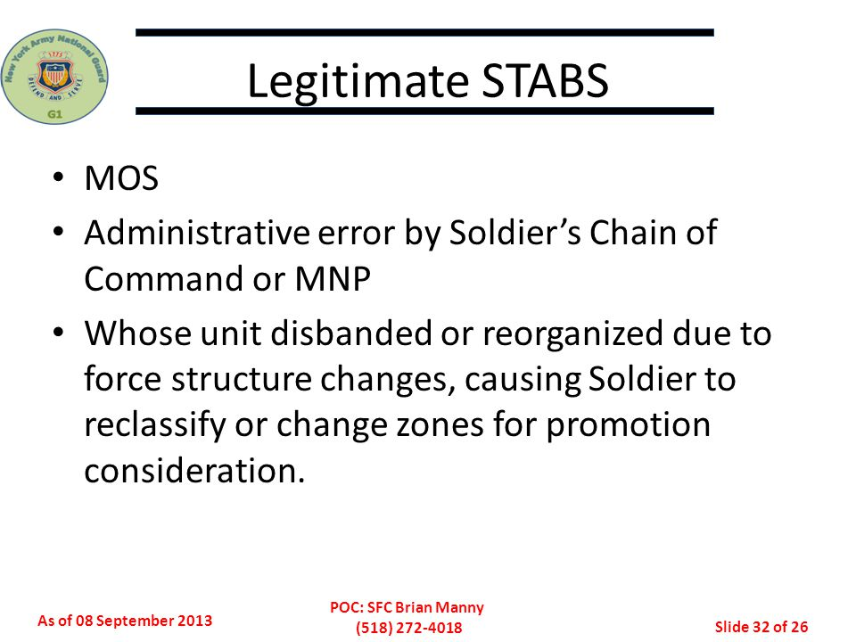 Legitimate STABS MOS. Administrative error by Soldier's Chain of Command or MNP.
