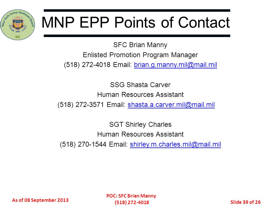 MNP EPP Points of Contact