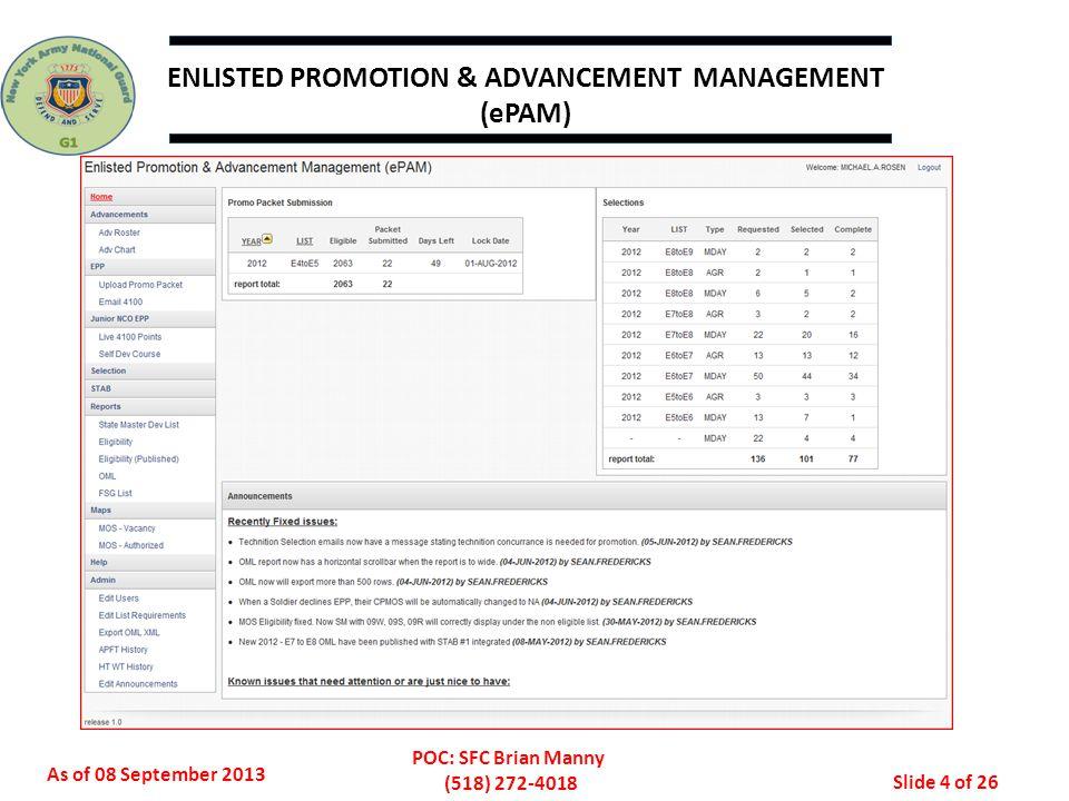 ENLISTED PROMOTION & ADVANCEMENT MANAGEMENT (ePAM)