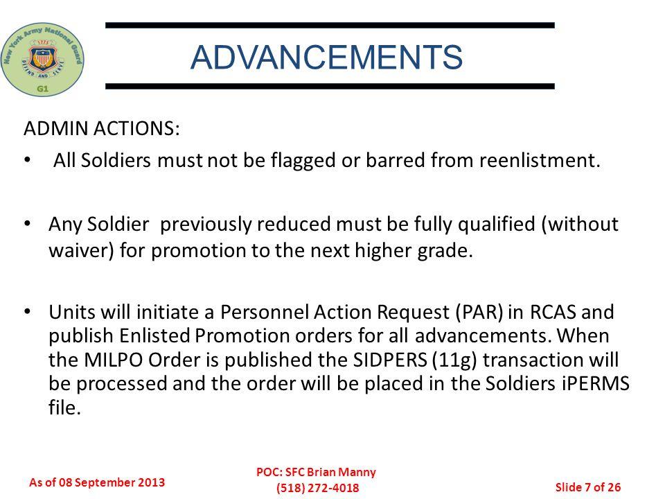 ADVANCEMENTS ADMIN ACTIONS: