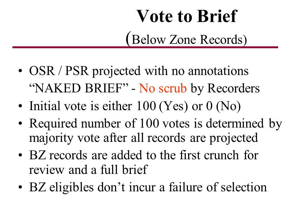 Vote to Brief (Below Zone Records)