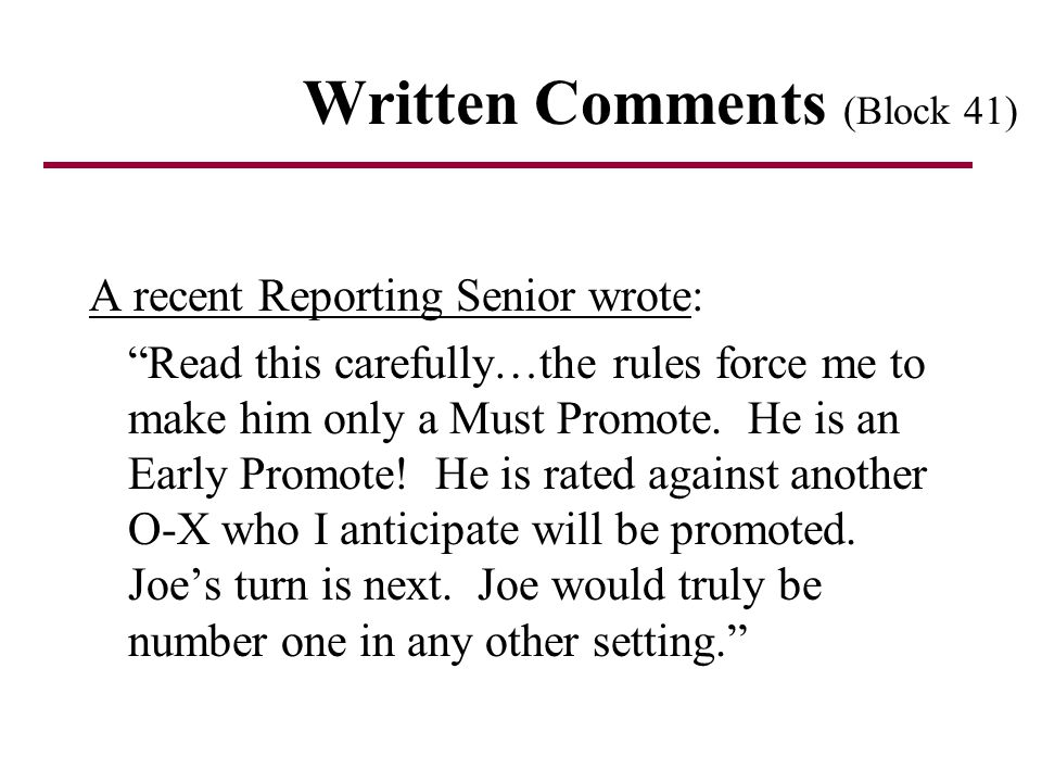 Written Comments (Block 41)