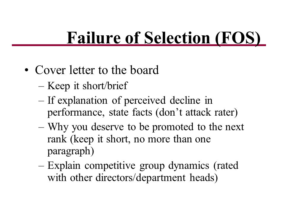 Failure of Selection (FOS)