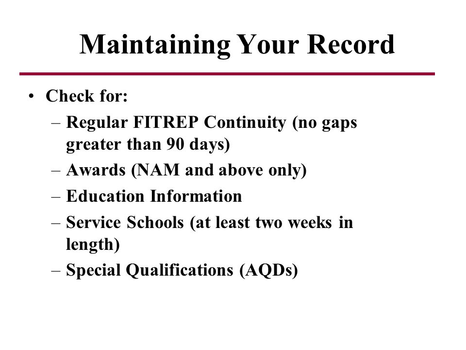 Maintaining Your Record
