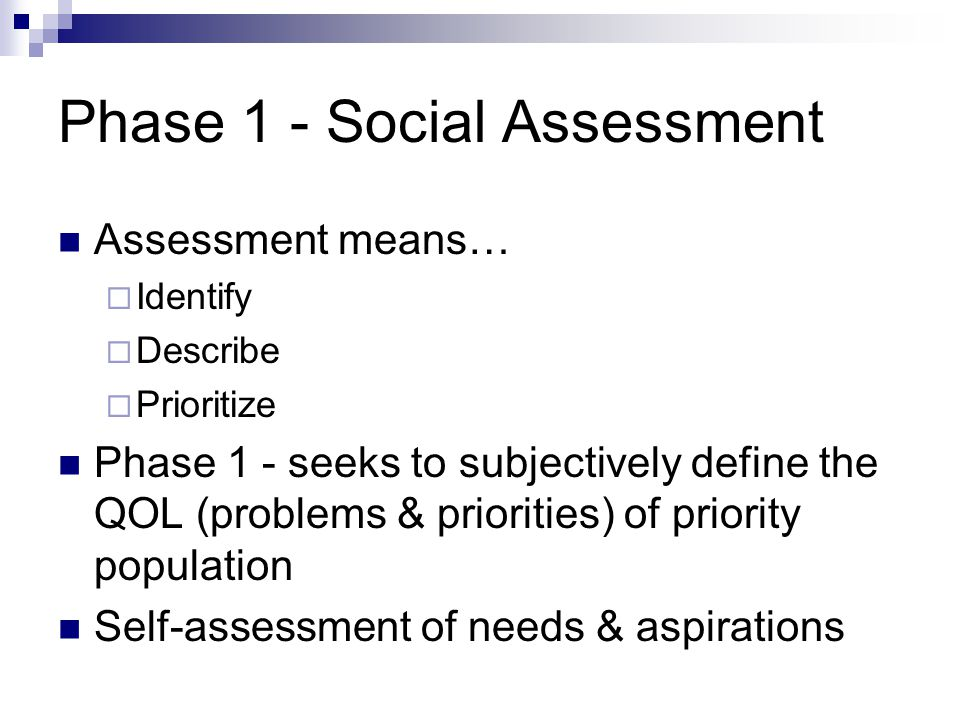 Phase 1 - Social Assessment