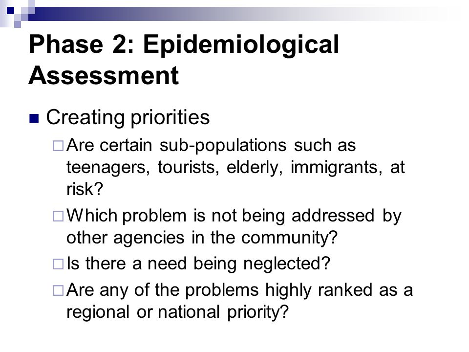 Phase 2: Epidemiological Assessment