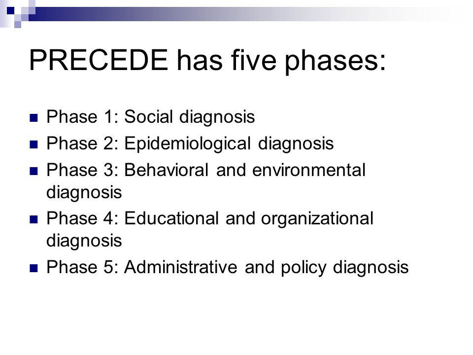 PRECEDE has five phases: