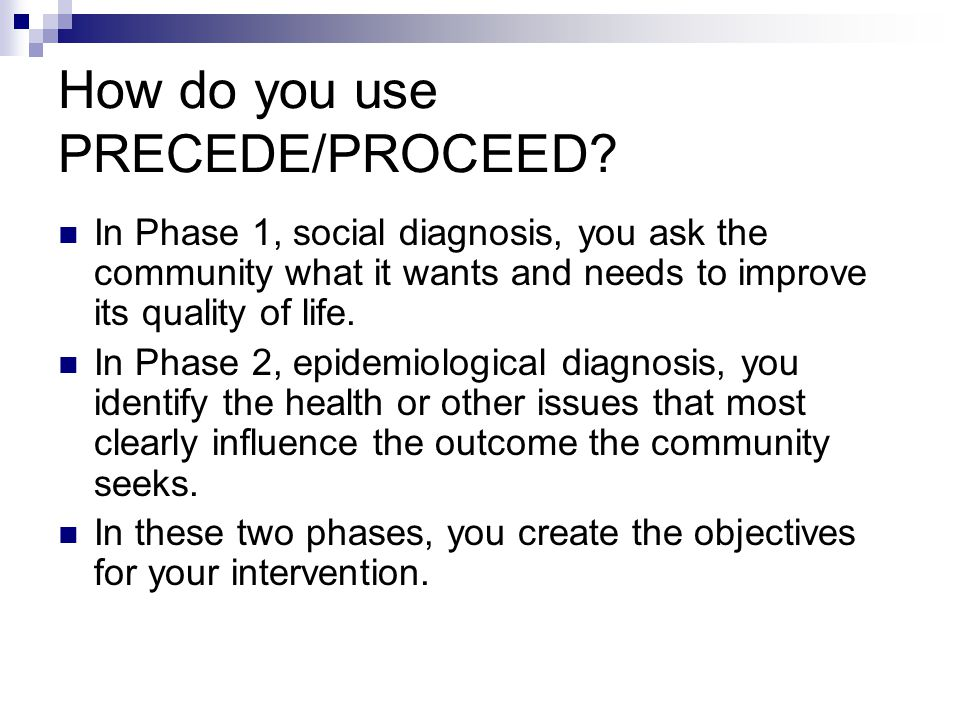 How do you use PRECEDE/PROCEED