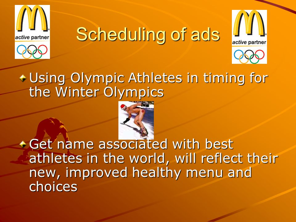 Scheduling of ads Using Olympic Athletes in timing for the Winter Olympics.