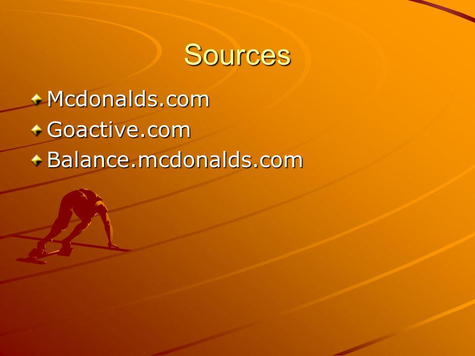 Sources Mcdonalds.com Goactive.com Balance.mcdonalds.com