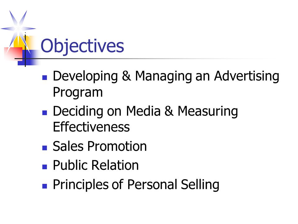 Objectives Developing & Managing an Advertising Program