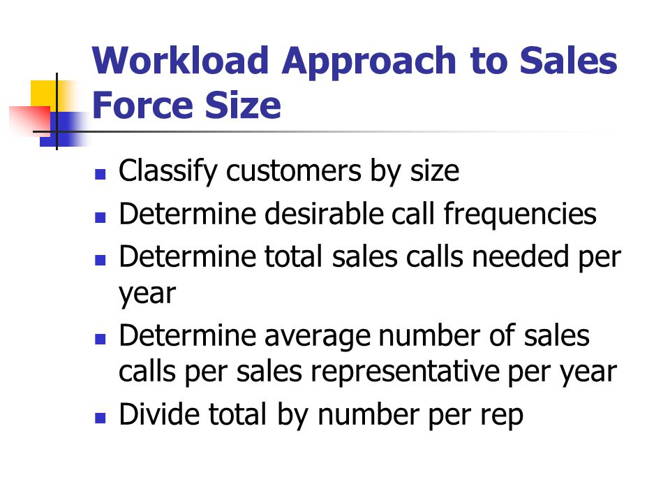 Workload Approach to Sales Force Size