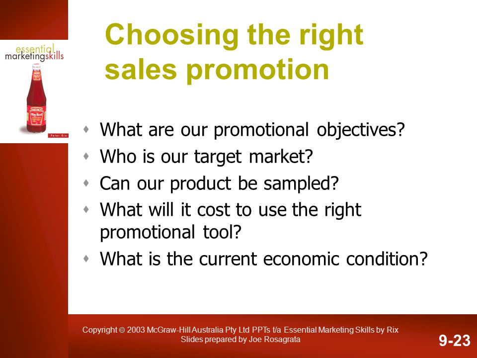 Choosing the right sales promotion