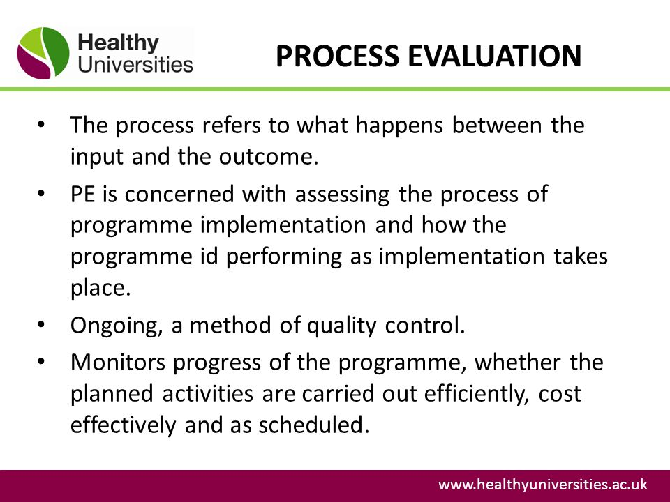 PROCESS EVALUATION The process refers to what happens between the input and the outcome.