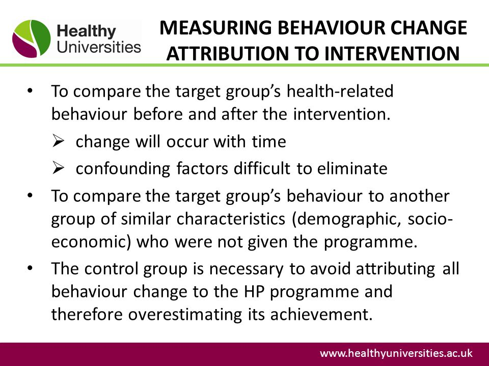 MEASURING BEHAVIOUR CHANGE ATTRIBUTION TO INTERVENTION