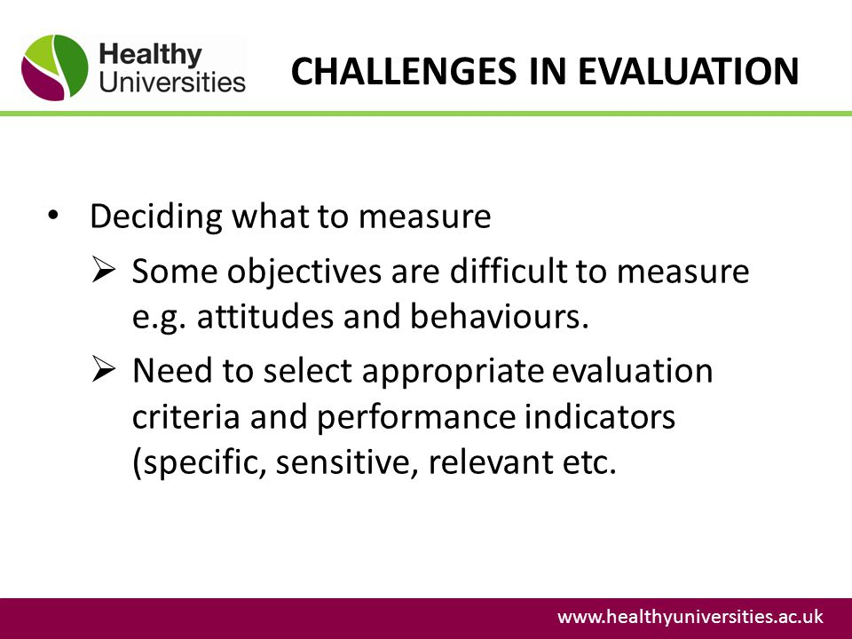 CHALLENGES IN EVALUATION