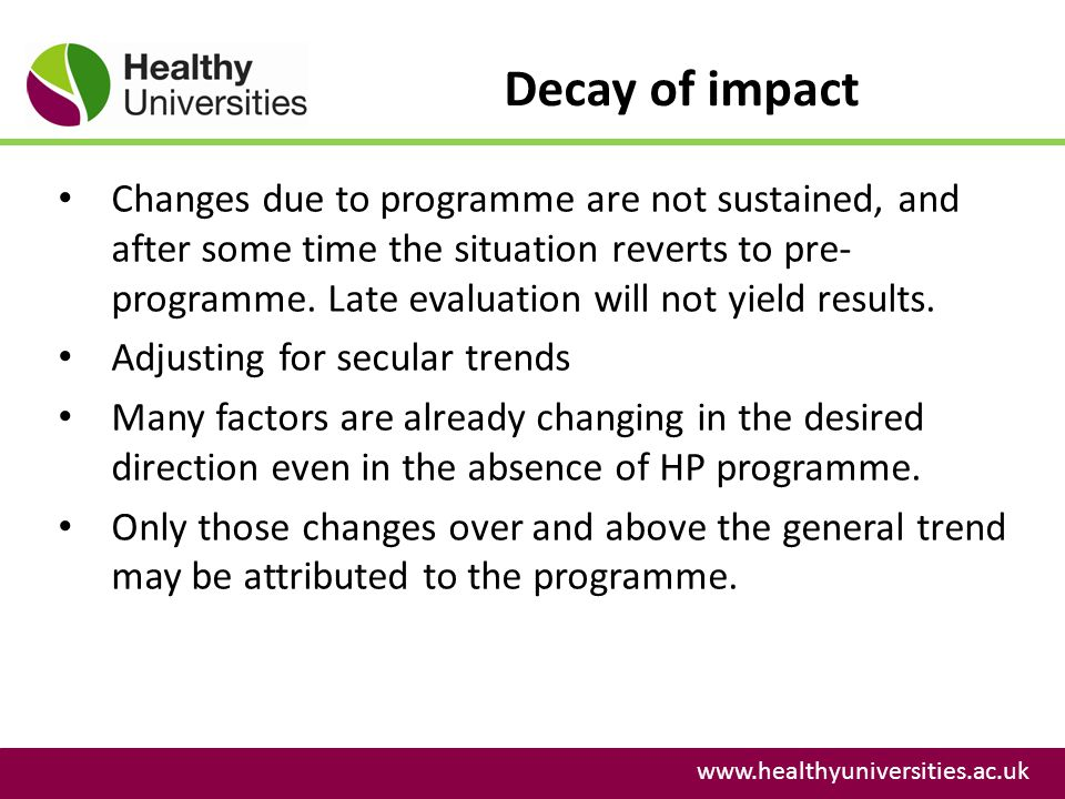 Decay of impact