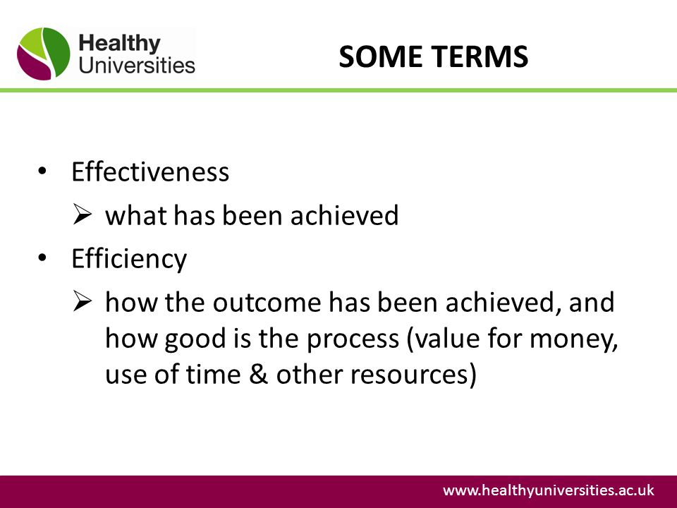 SOME TERMS Effectiveness what has been achieved Efficiency